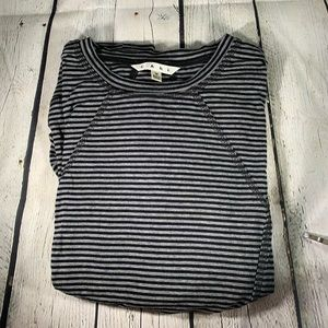 CAbi Black and Gray Striped Rutched Top